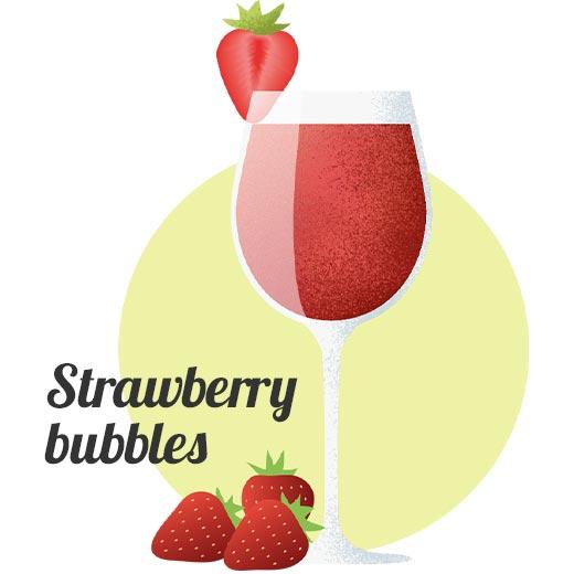 Alkoholfri drink Strawberry bubbles 0,0