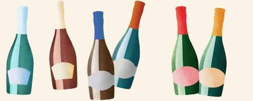 Illustration på mousserande vinflaskor i olika färger och former
