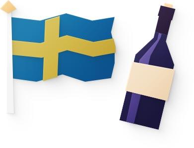 Svenska flaggan bredvid en flaska vin i pappersstil